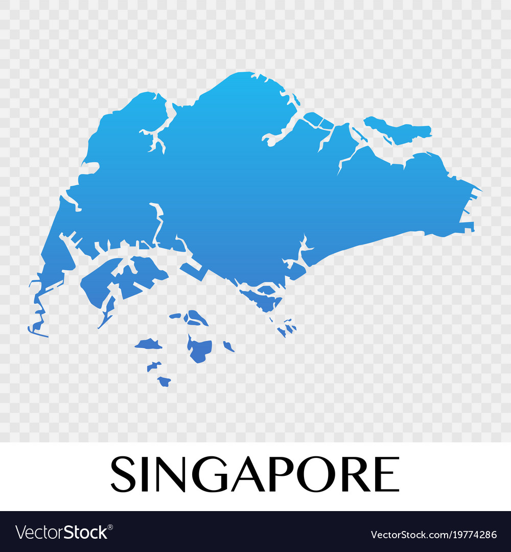 Singapore map in asia continent desig