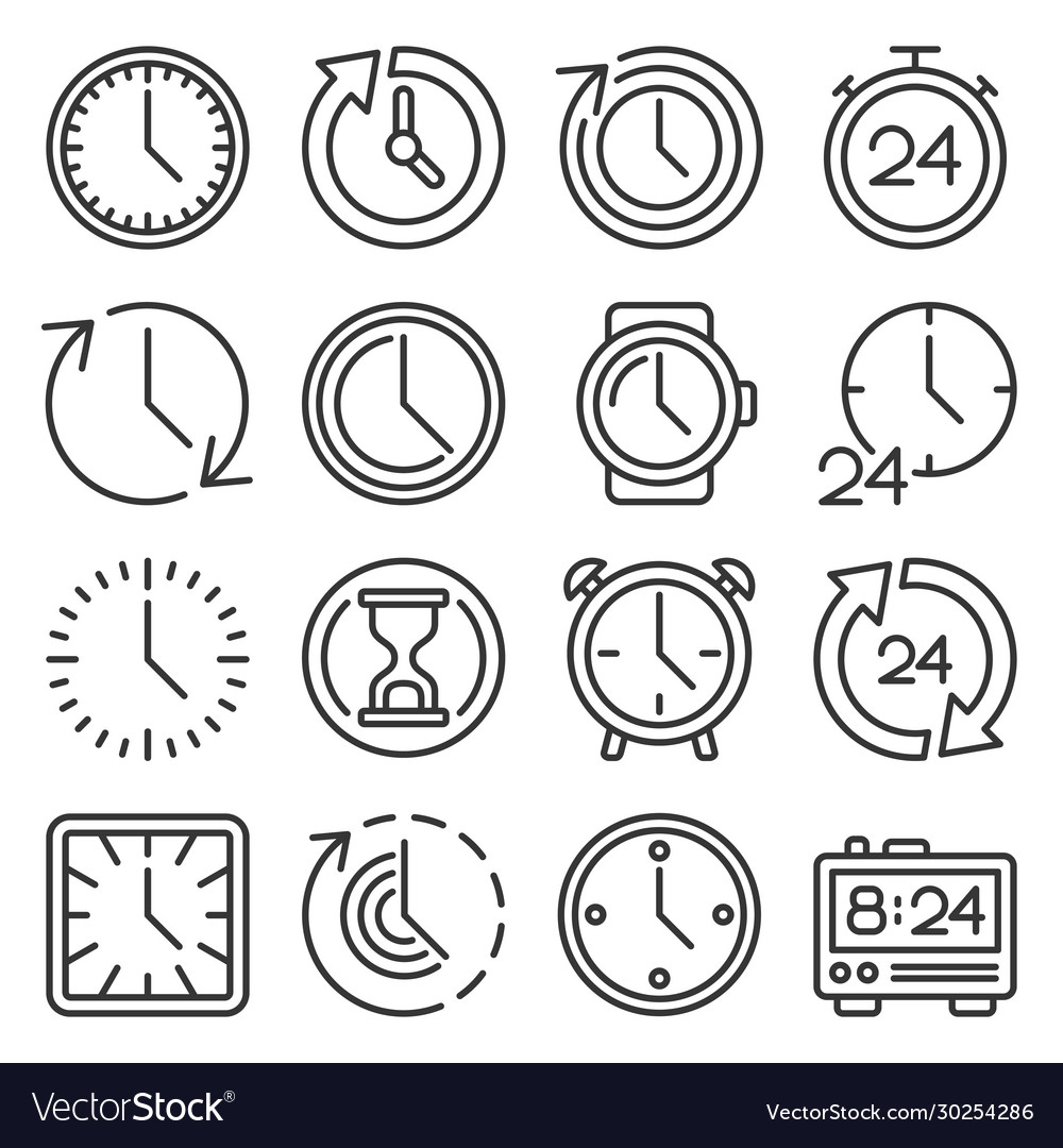 Time icons set on white background line style