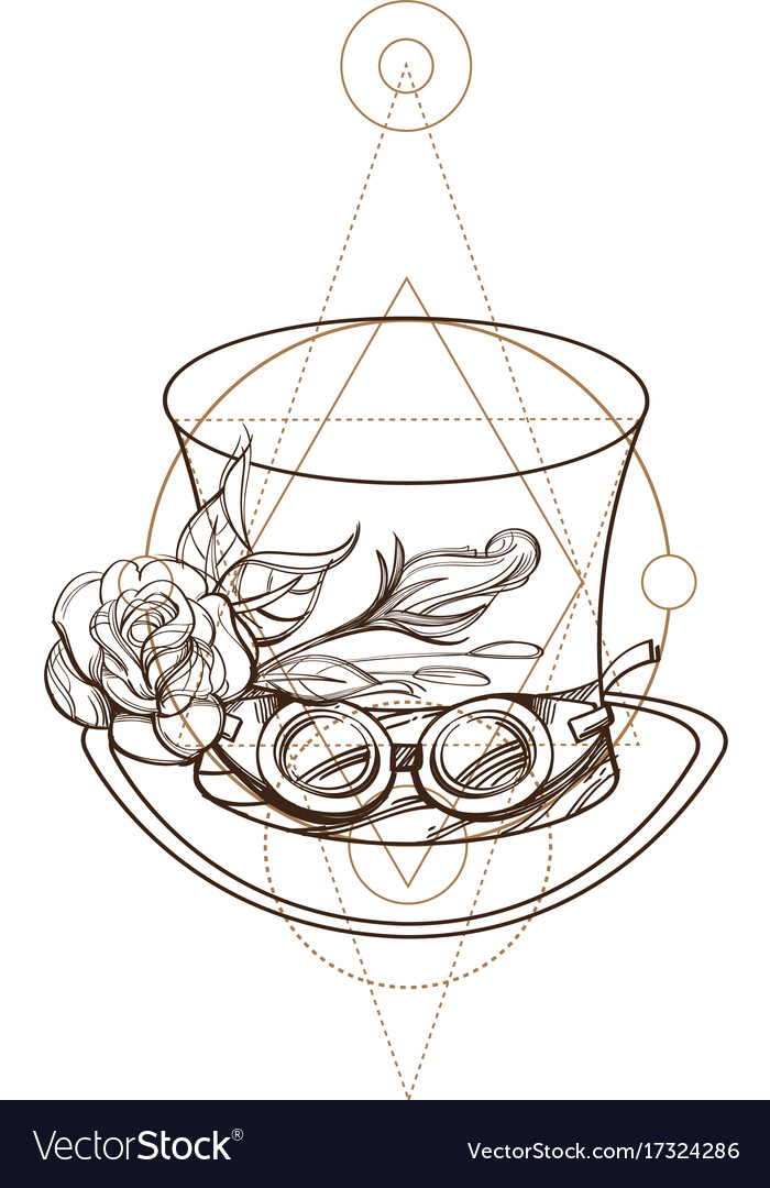 Top hat with rose and goggles outline isolated on