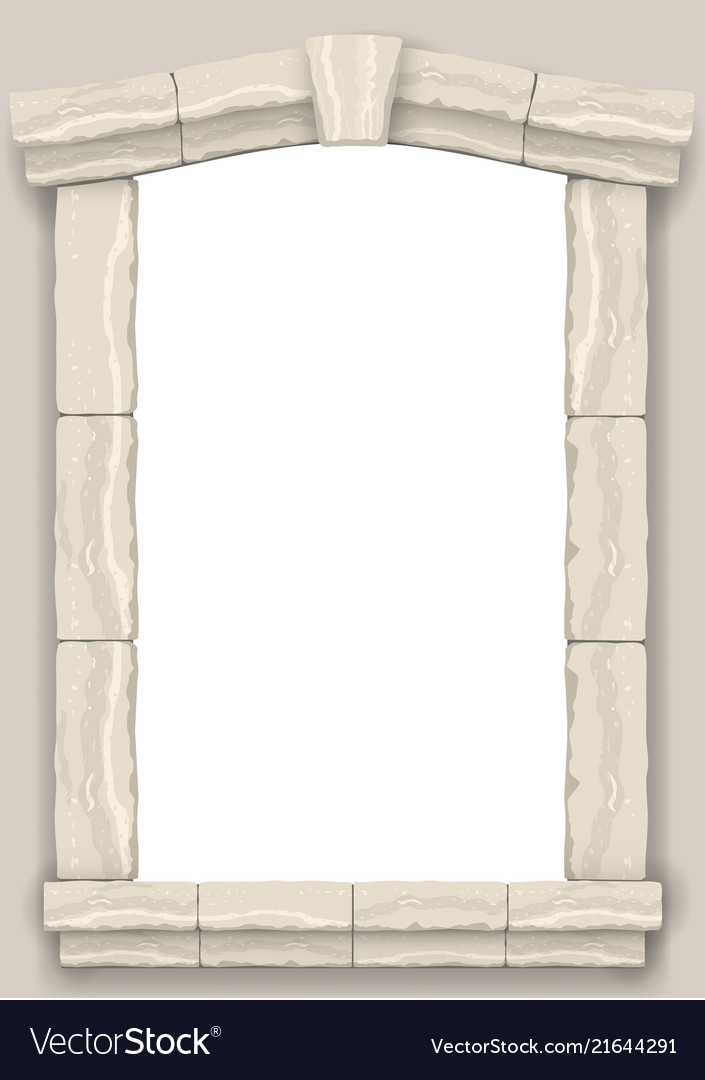 Arch in the wall of beige cut stone