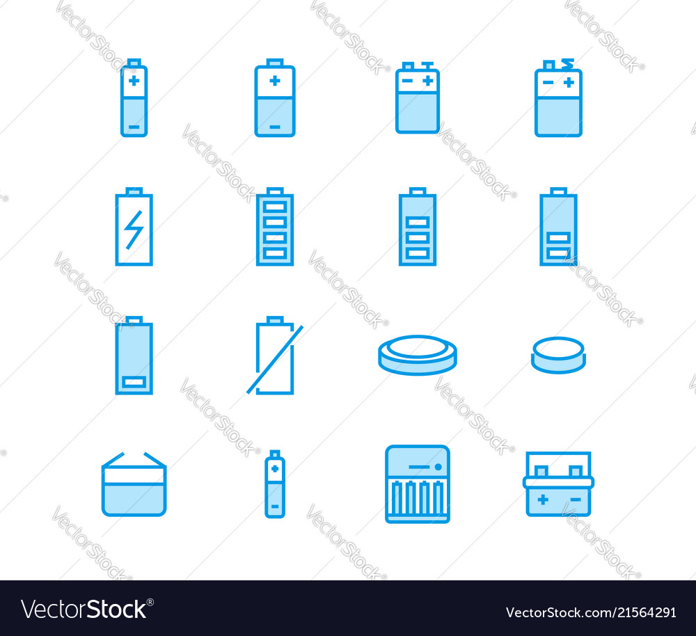 Battery flat line icons batteries