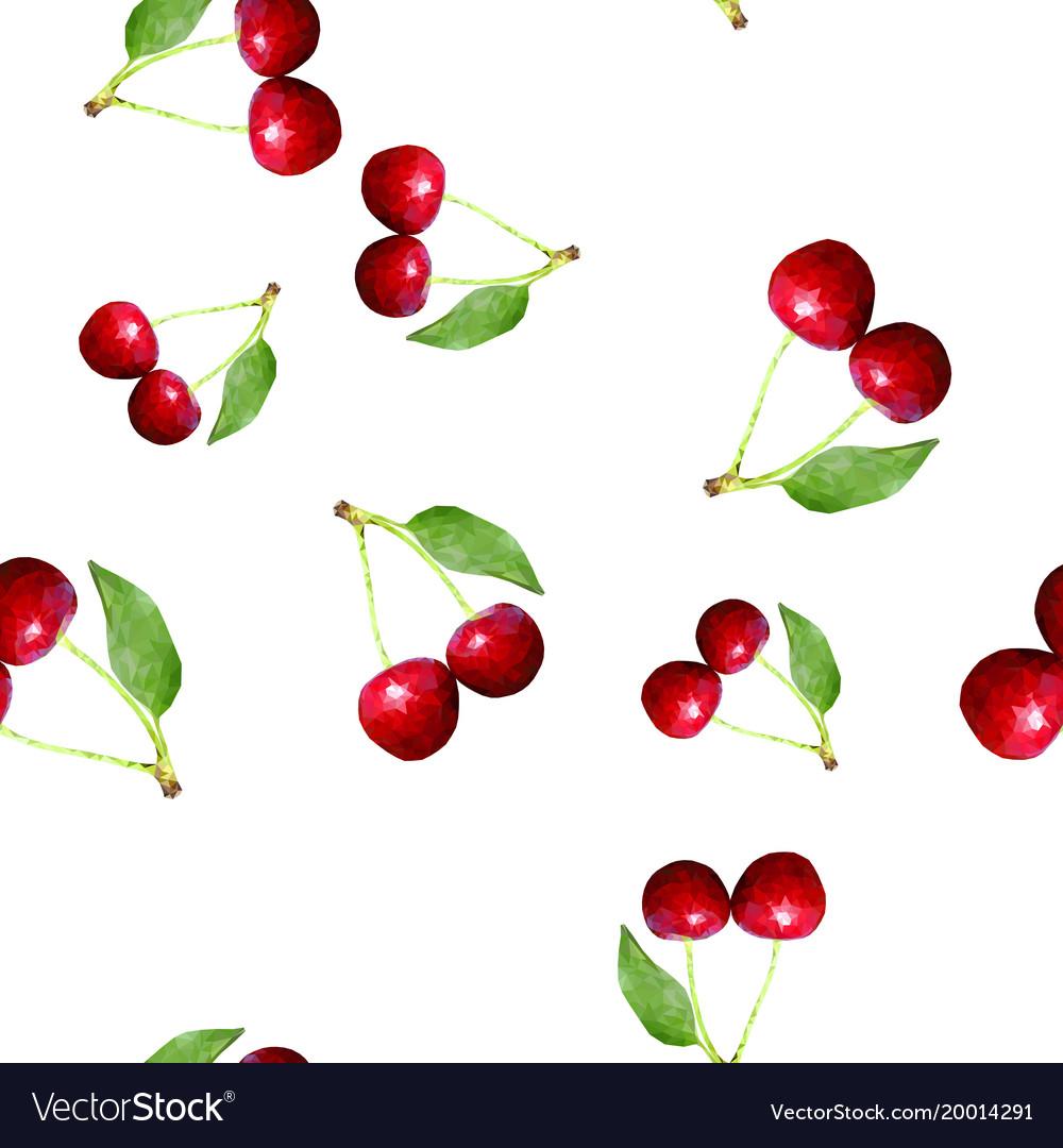 Cherries seamless pattern polygonal
