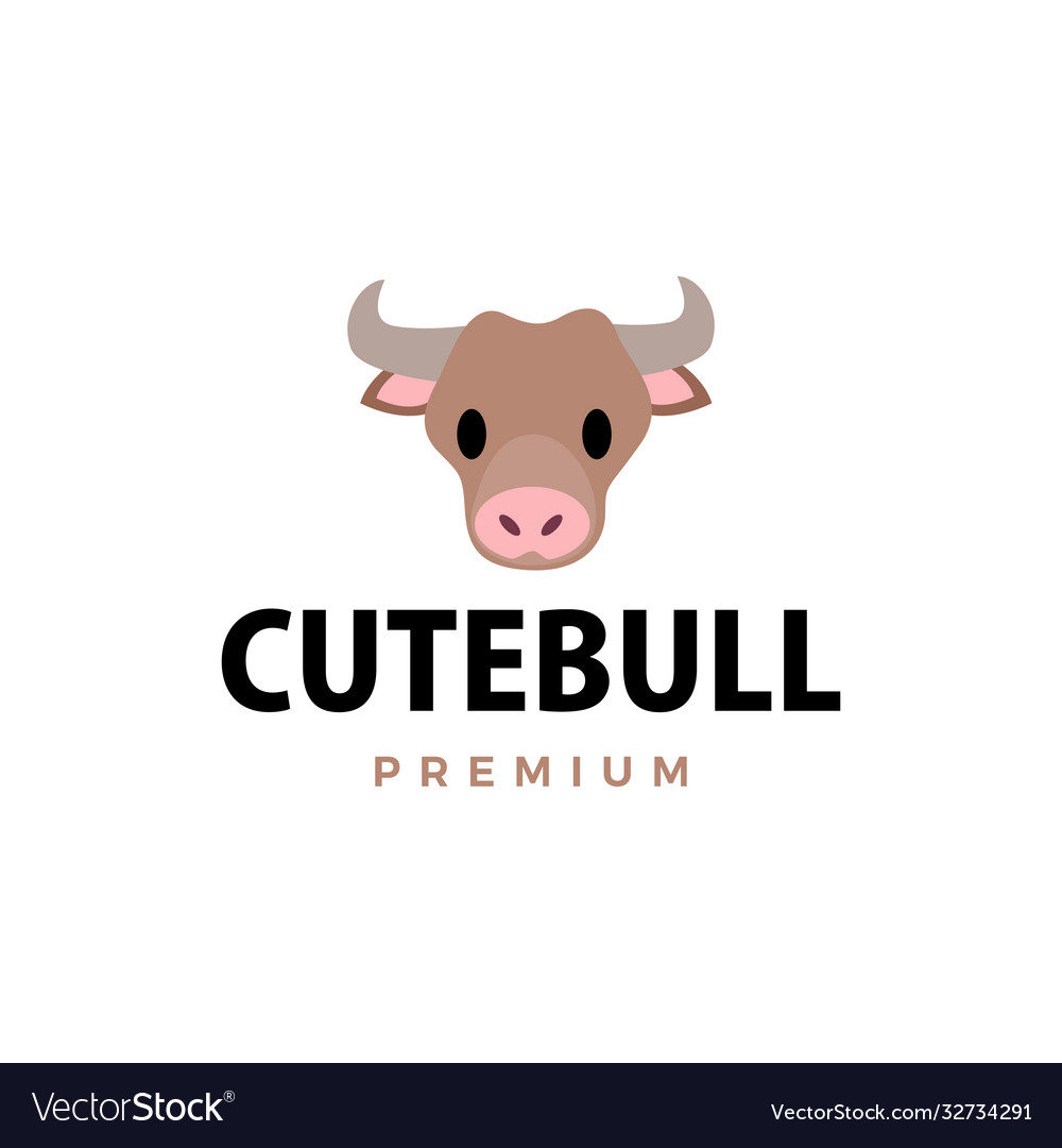 Cute bull flat logo icon