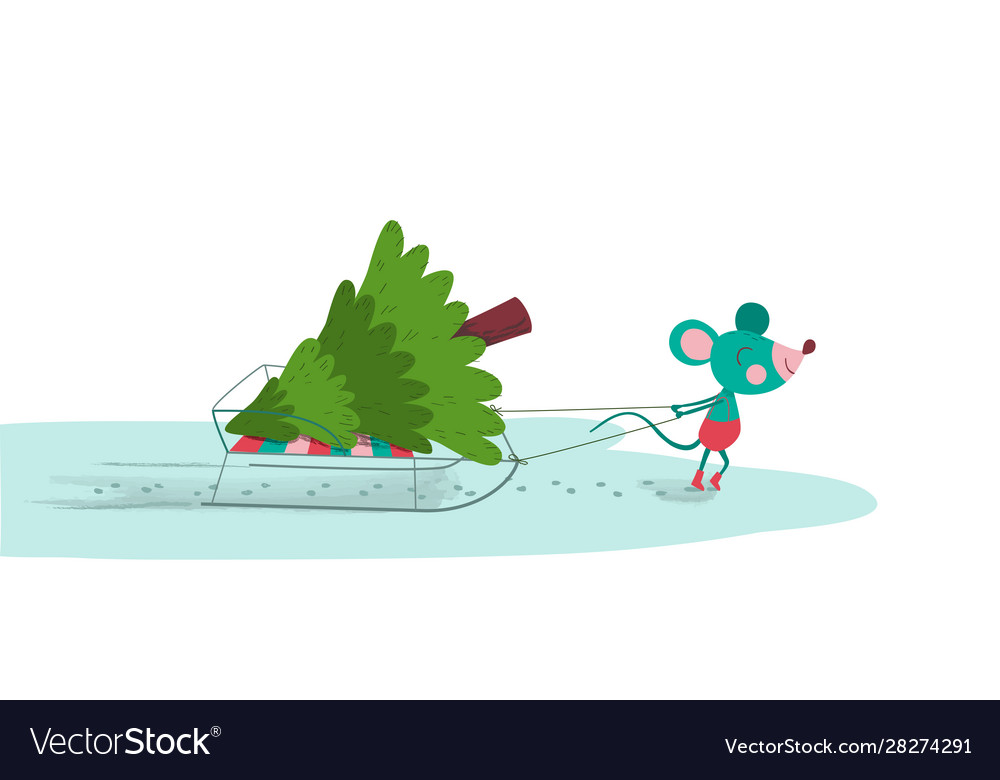Cute mouse pulling sled with fir-tree on it