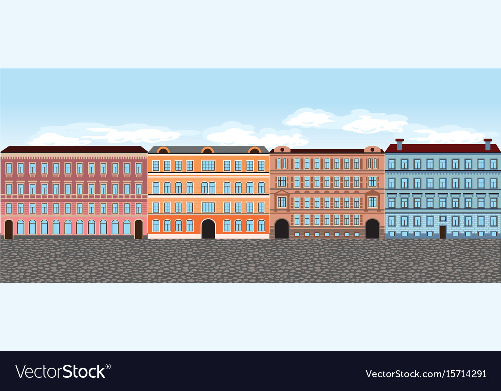 Europe city street set 5 multi-colored vector image