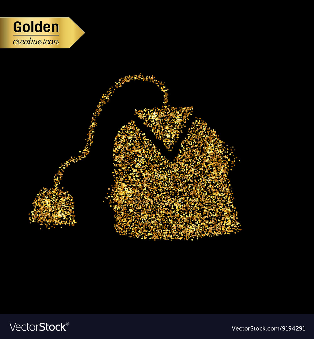 Gold glitter icon of tea bag isolated on