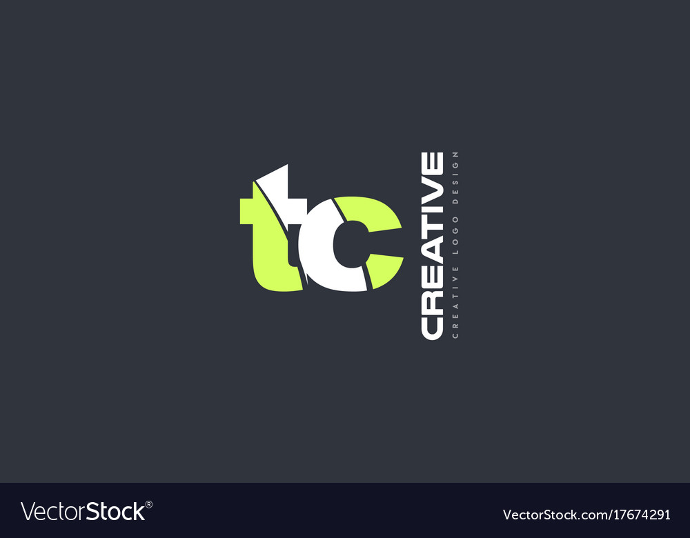 Green letter tc t c combination logo icon company vector image