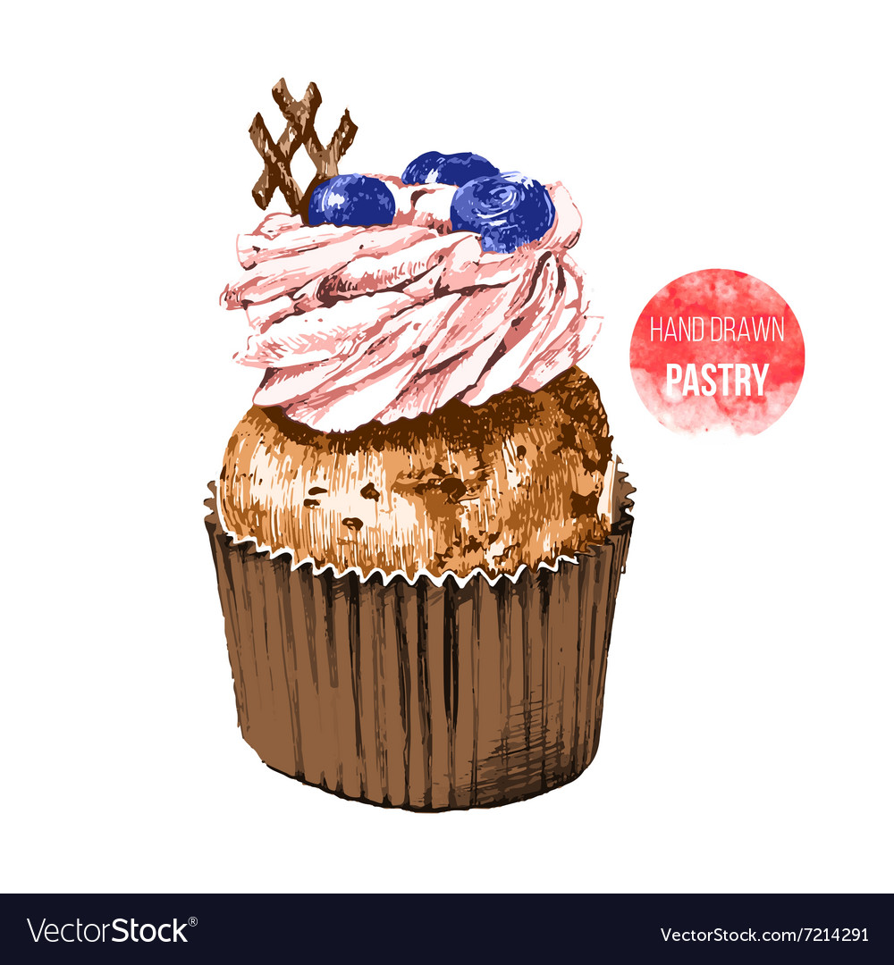 Hand drawn cupcake in color
