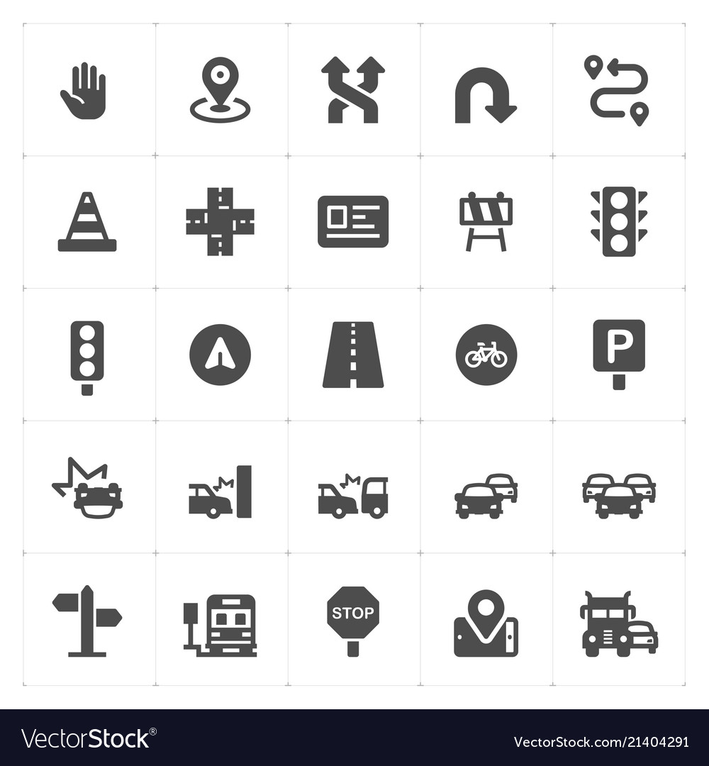Icon set - traffic and accident filled icon style