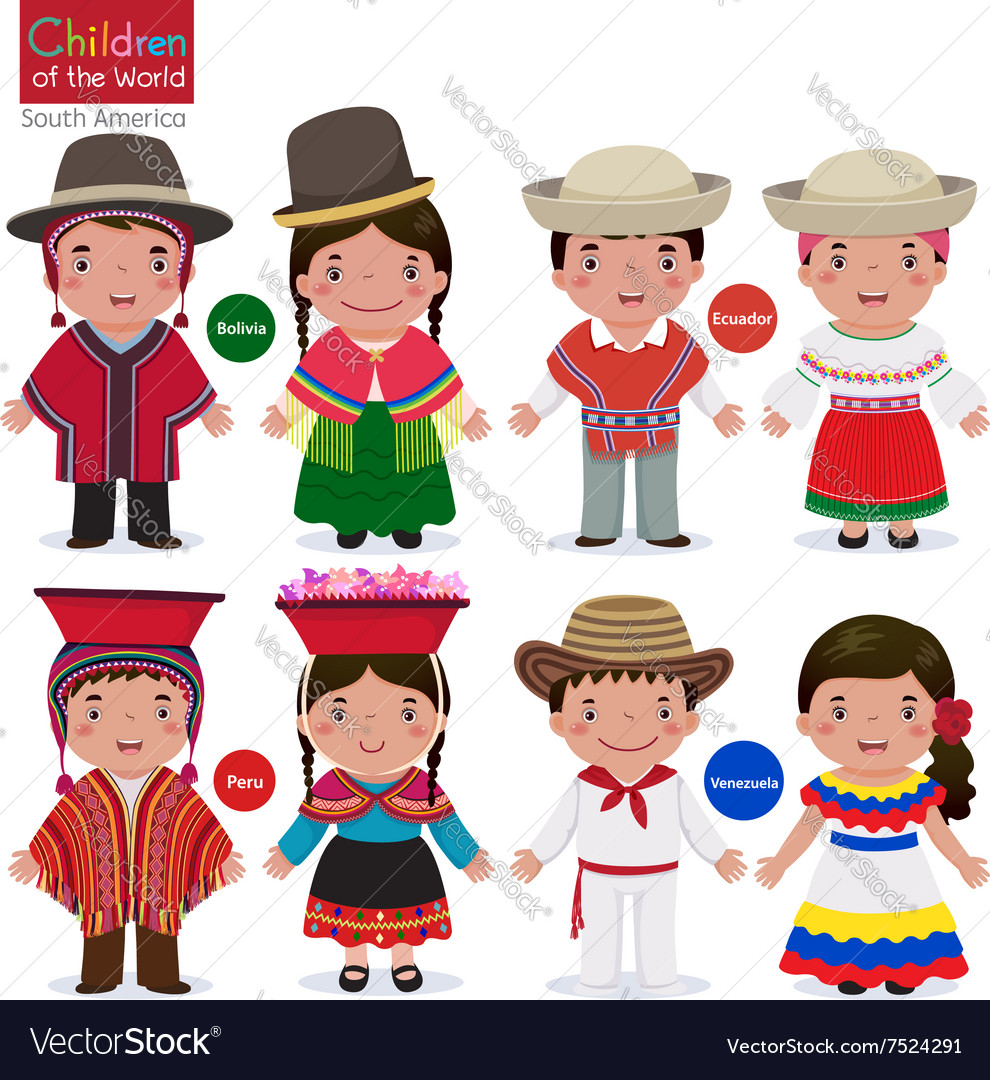 Kids in different traditional costumes Bolivia vector image