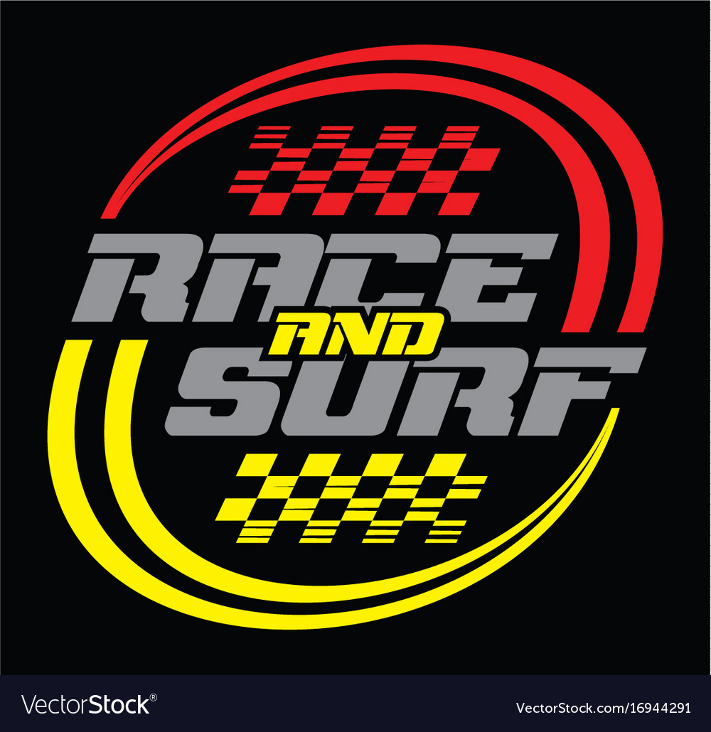 Race and surf logo for t-shirt