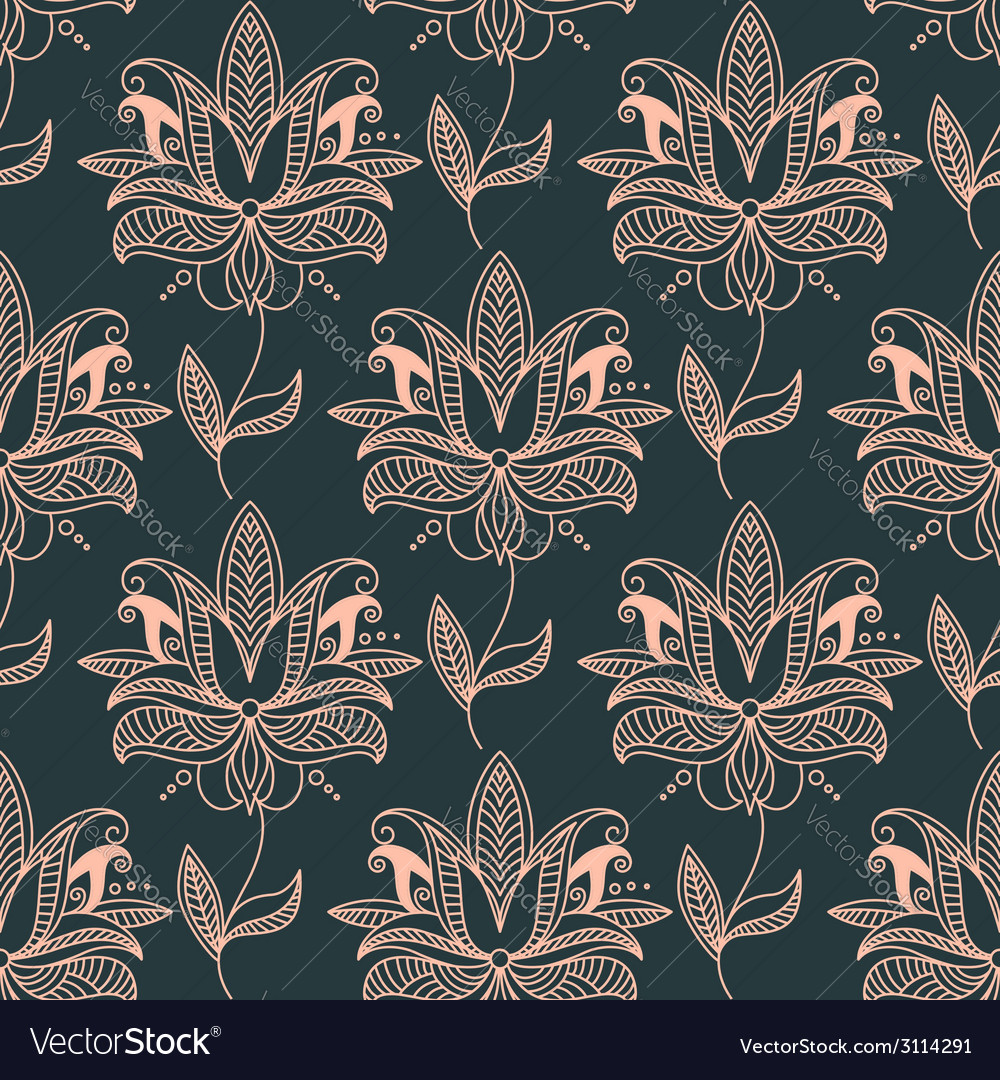 Repeat seamless floral background pattern vector image