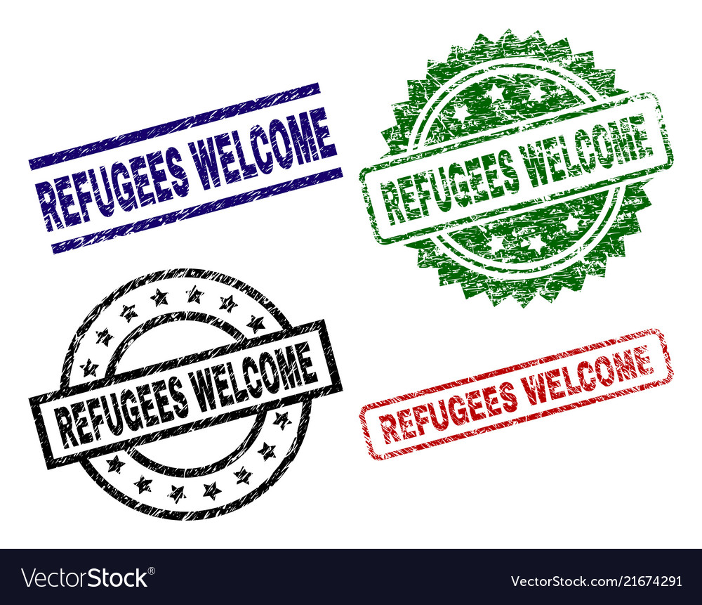Scratched textured refugees welcome stamp seals