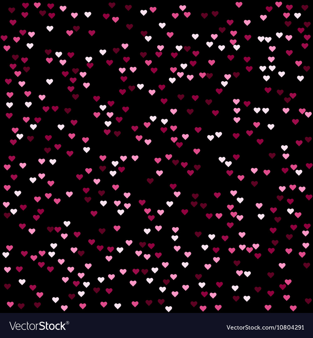 Seamless Abstract Pink Heart Pattern Black Vector Image