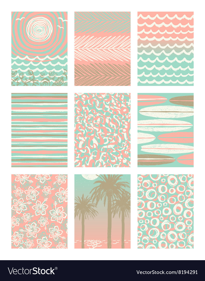 Set summer vacation poster backgrounds