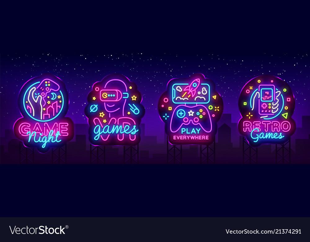 Video games logos collection neon sign