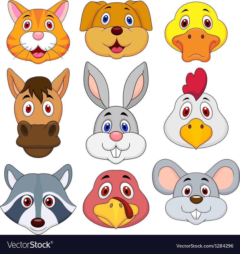 Animal head cartoon set