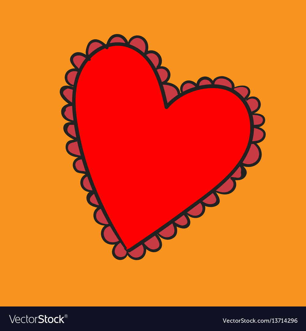 Big red heart with a pattern on yellow background