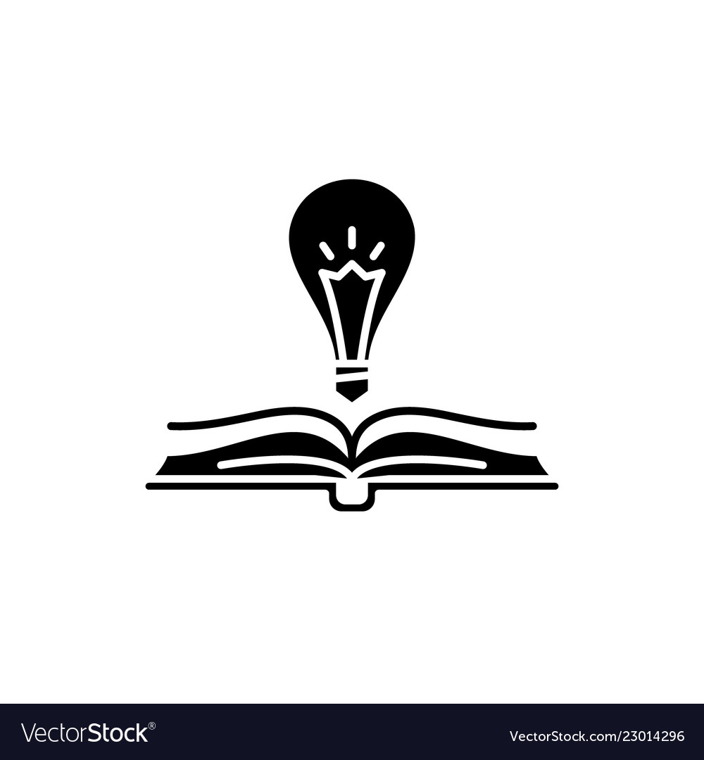 Book wisdom black icon sign on isolated