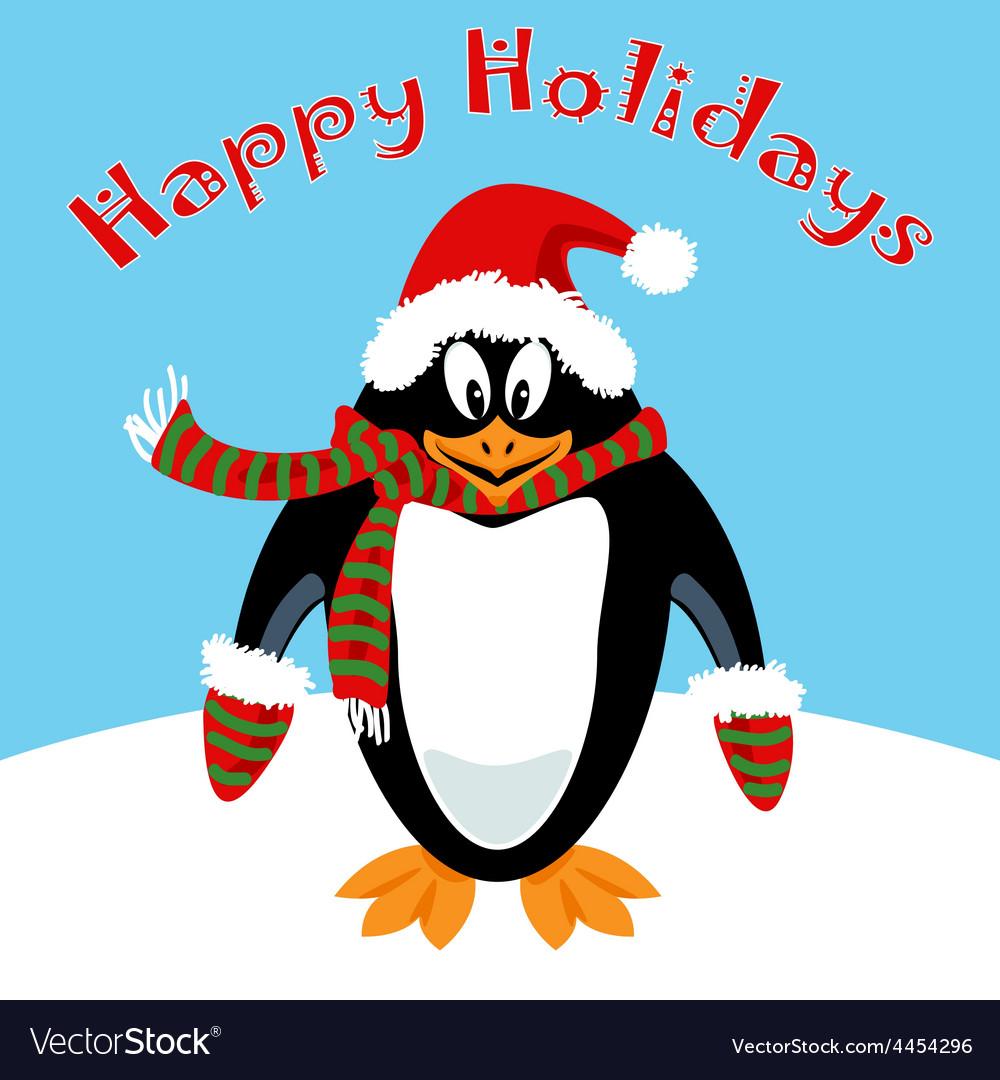 Cartoon penguin Holiday card