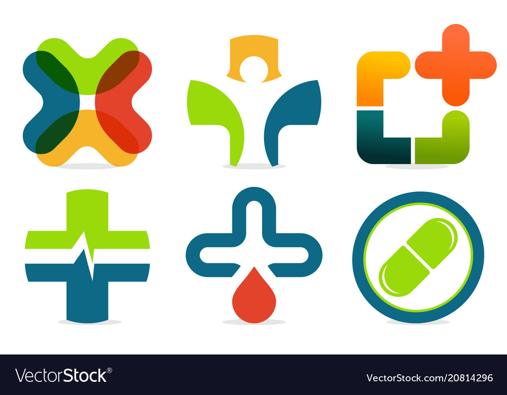 Colorful abstract med logo medicine cross