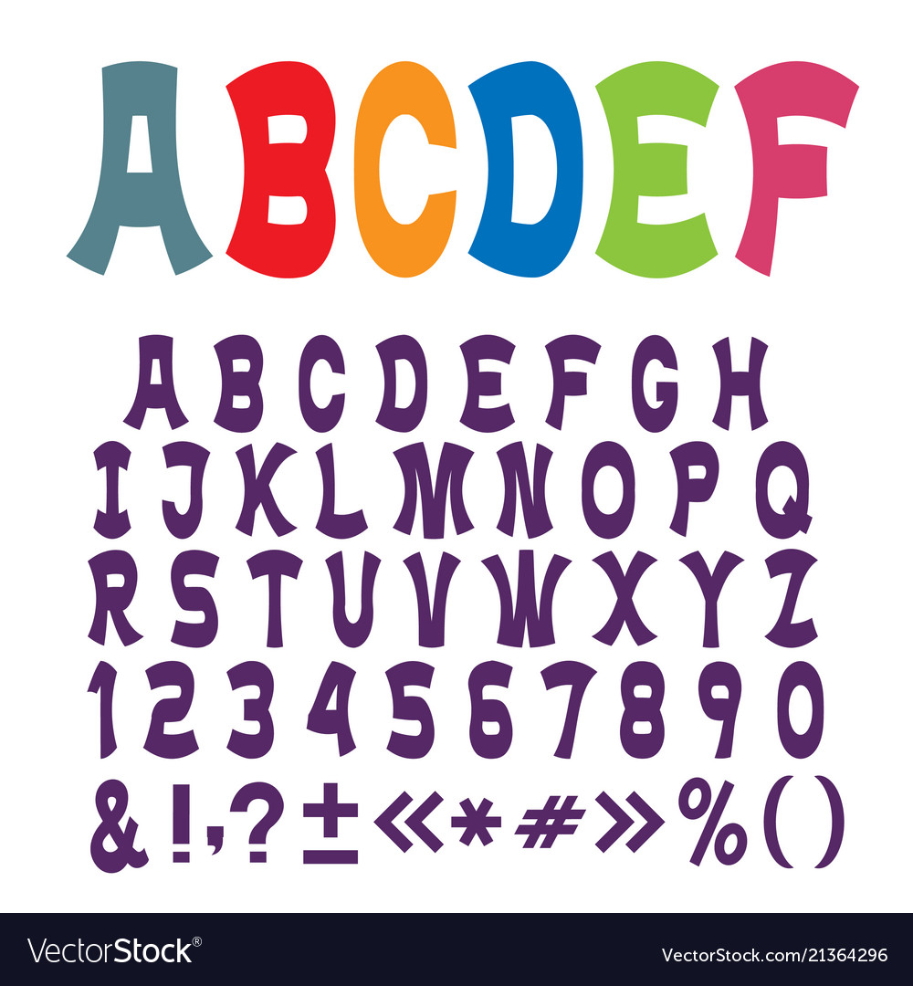 Cute funny alphabet lettersnumbers and