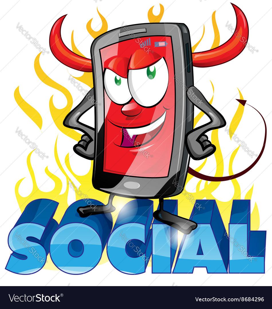 Evil fun mobile cartoon on flame