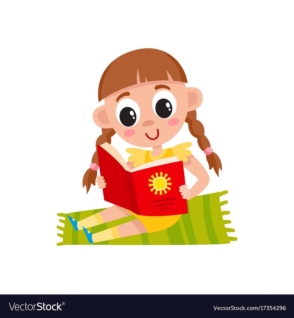 flat girl sitting at carpet reading book vector image