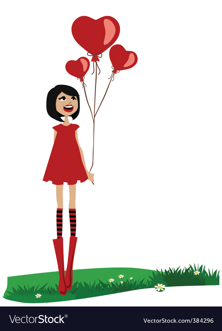 Girl holding red balloon vector image