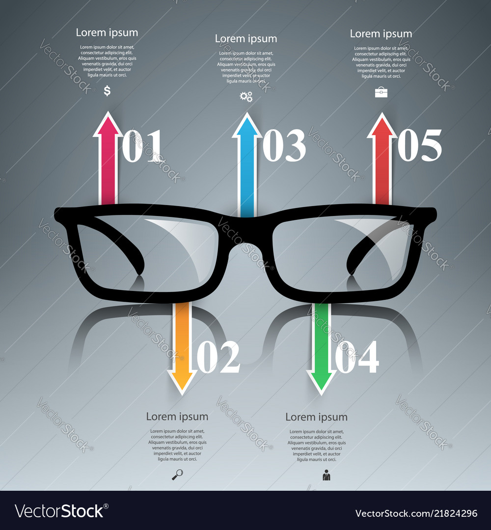 Glasses icon abstract infographic