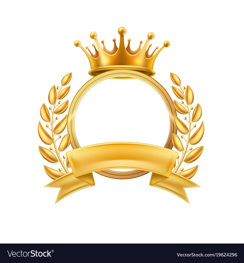 Gold crown laurel wreath winner frame isolated