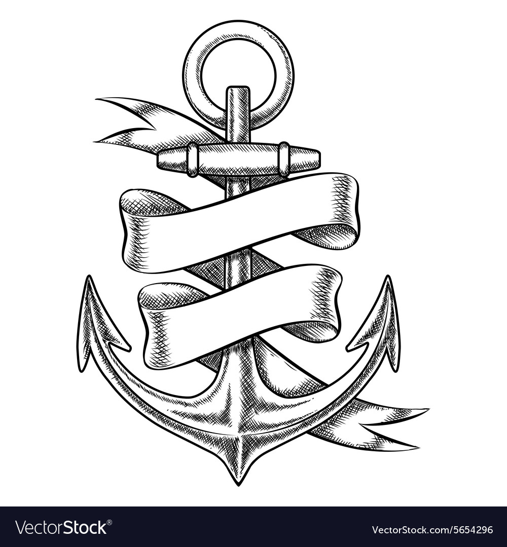 Hand drawn anchor sketch with blank ribbon