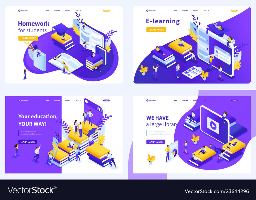 Isometric set landing page for education