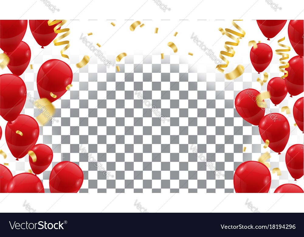 Poster with shiny red balloons on translucent