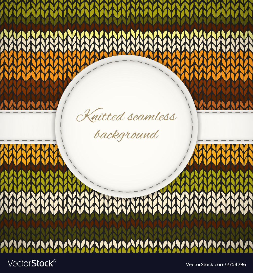 Seamless knitted background with stitched frame