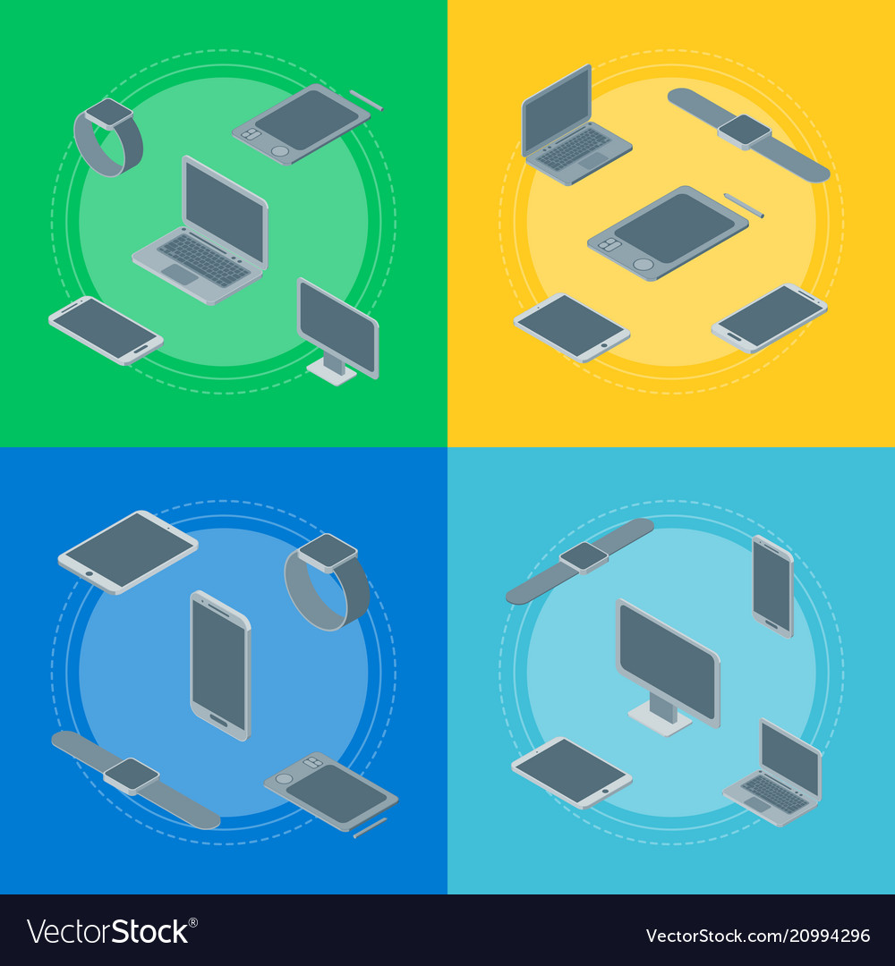 Technology devices banner card set isometric view