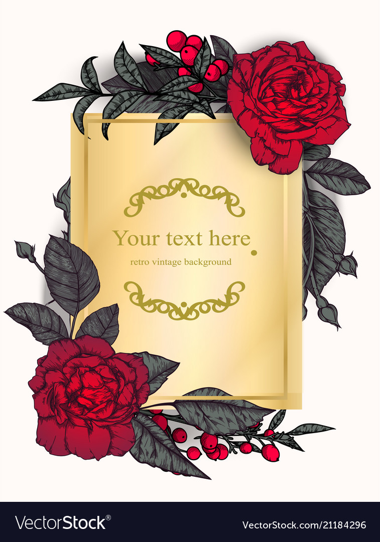 Vintage background victorian hand drawn rose