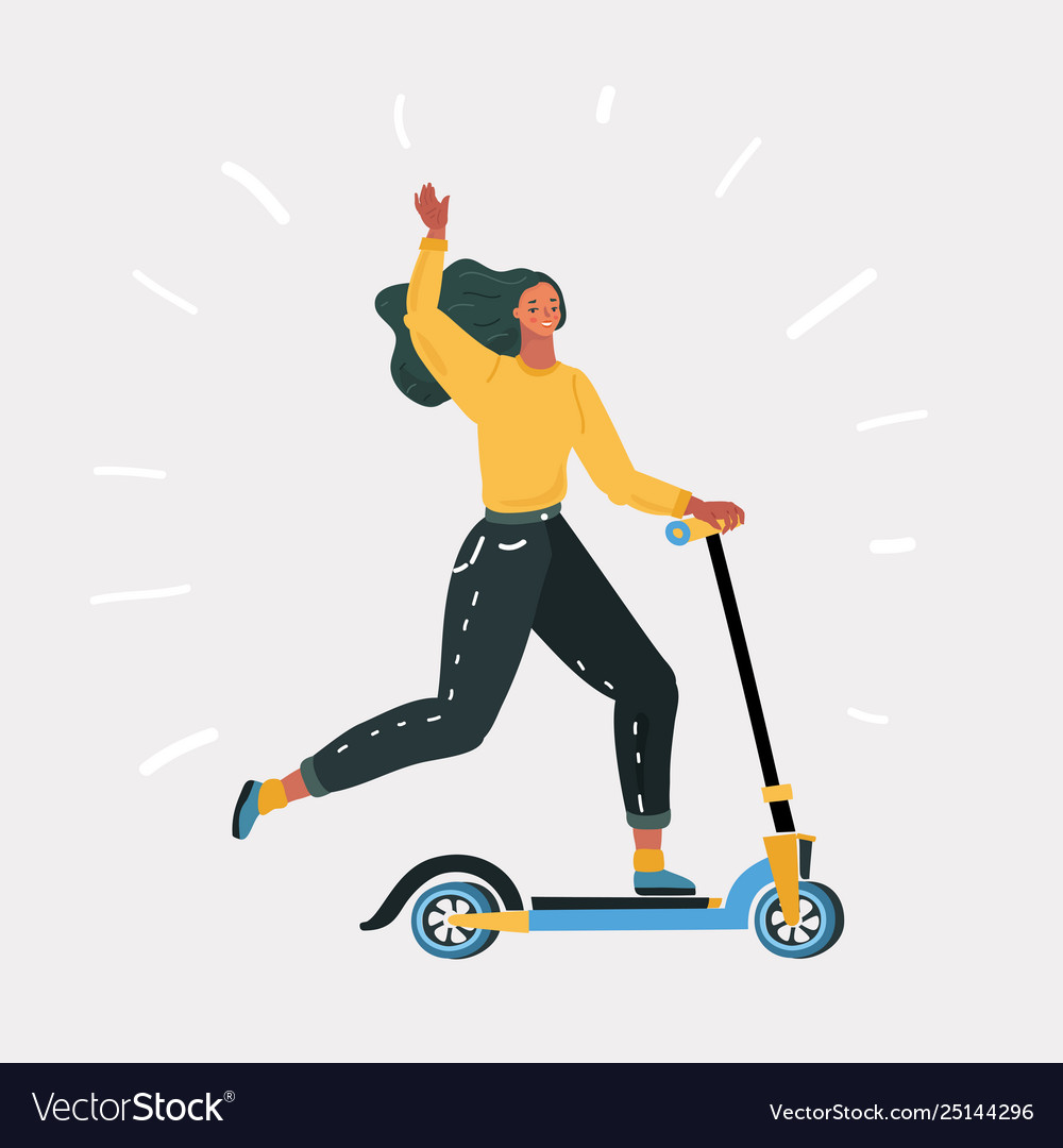 Woman riding fast modern electric kick scooter