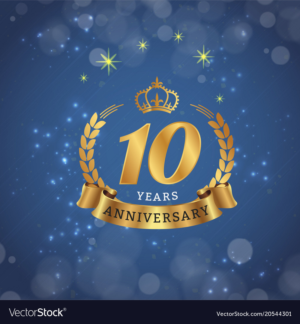 10 years anniversary gold ribbon crown star blue b