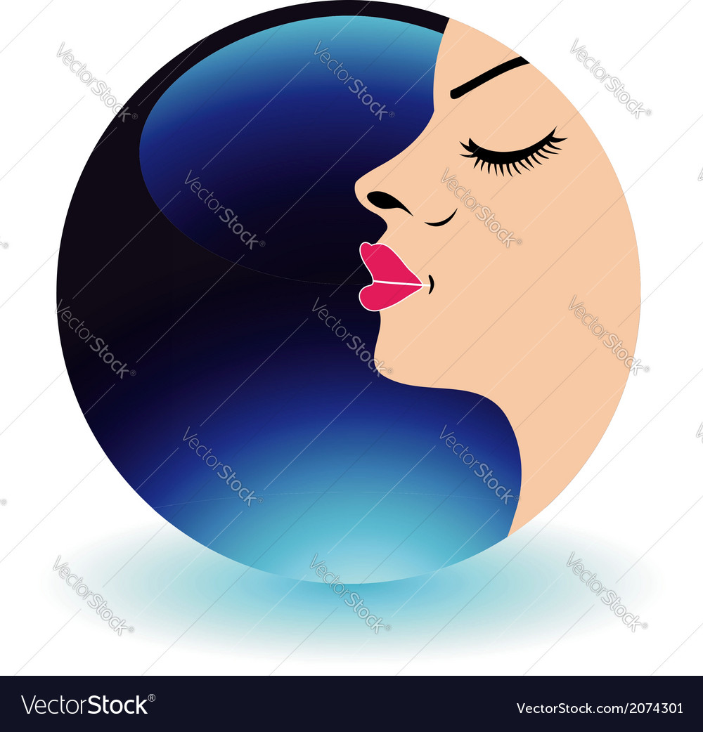 Blue moon lady- Logo for beauty salons vector image