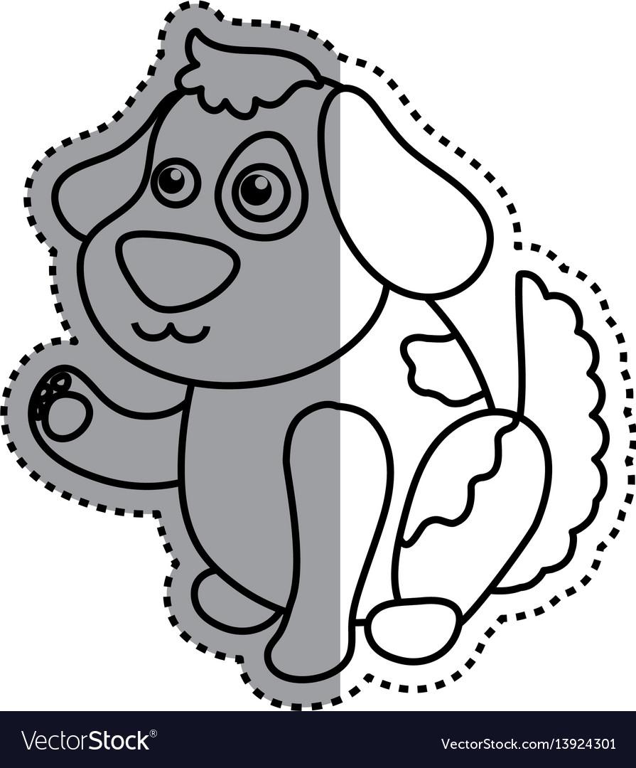 Dog cartoon drawing sitting vector image