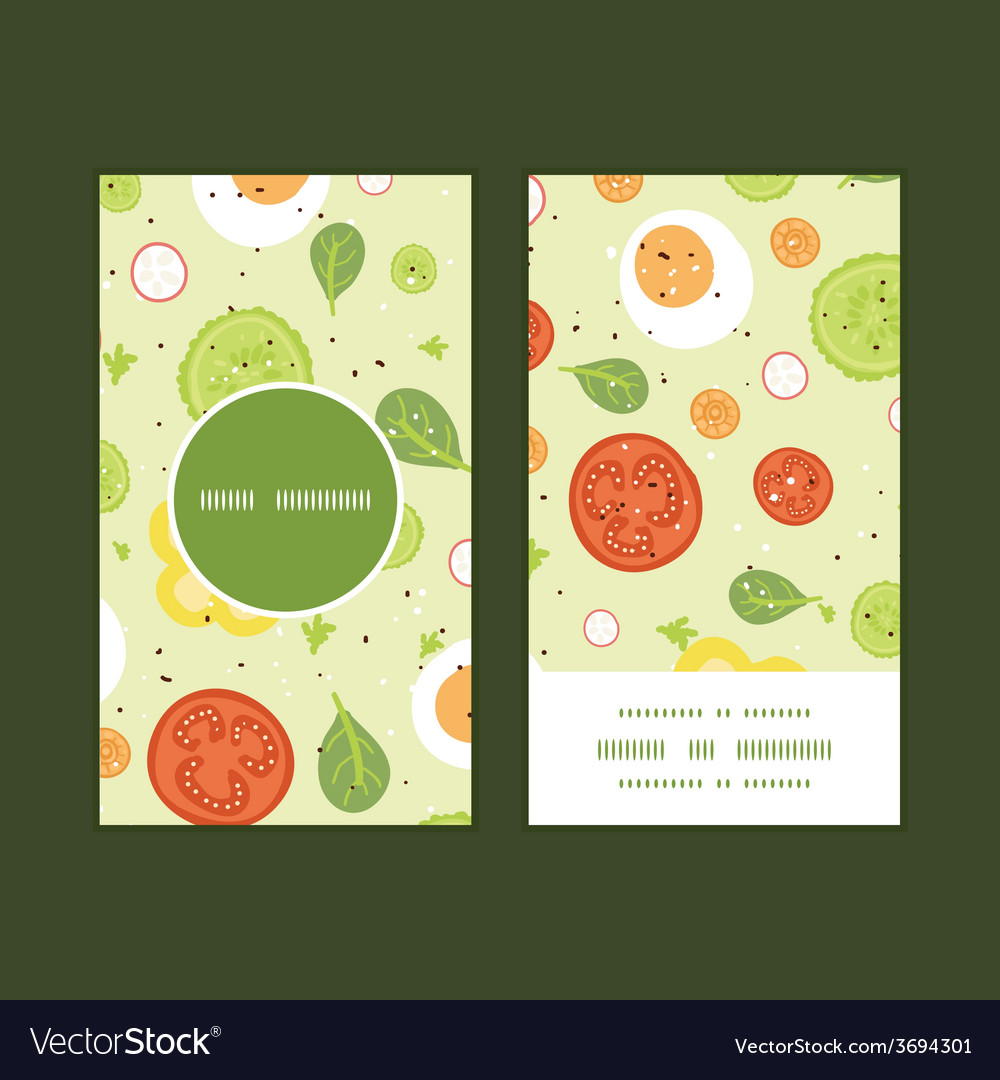 Fresh salad vertical round frame pattern