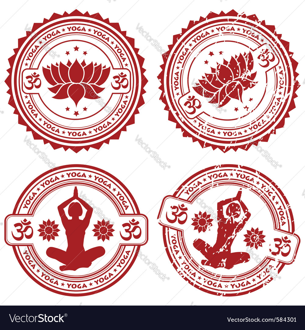 Grunge yoga stamps vector image