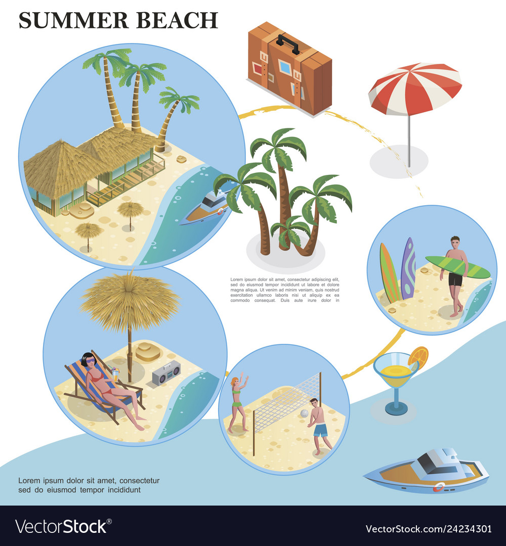 Isometric summer vacation template