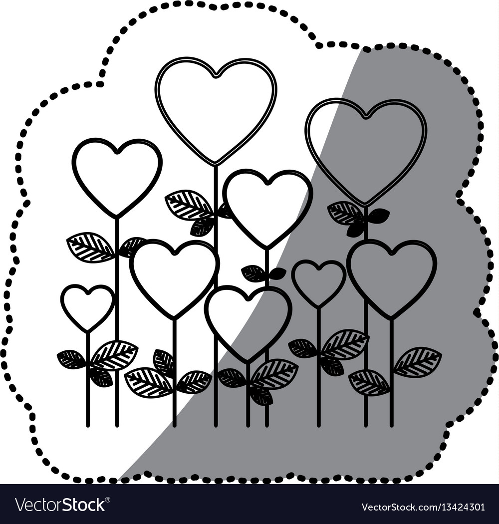 Monochrome sticker silhouette with floral vector image