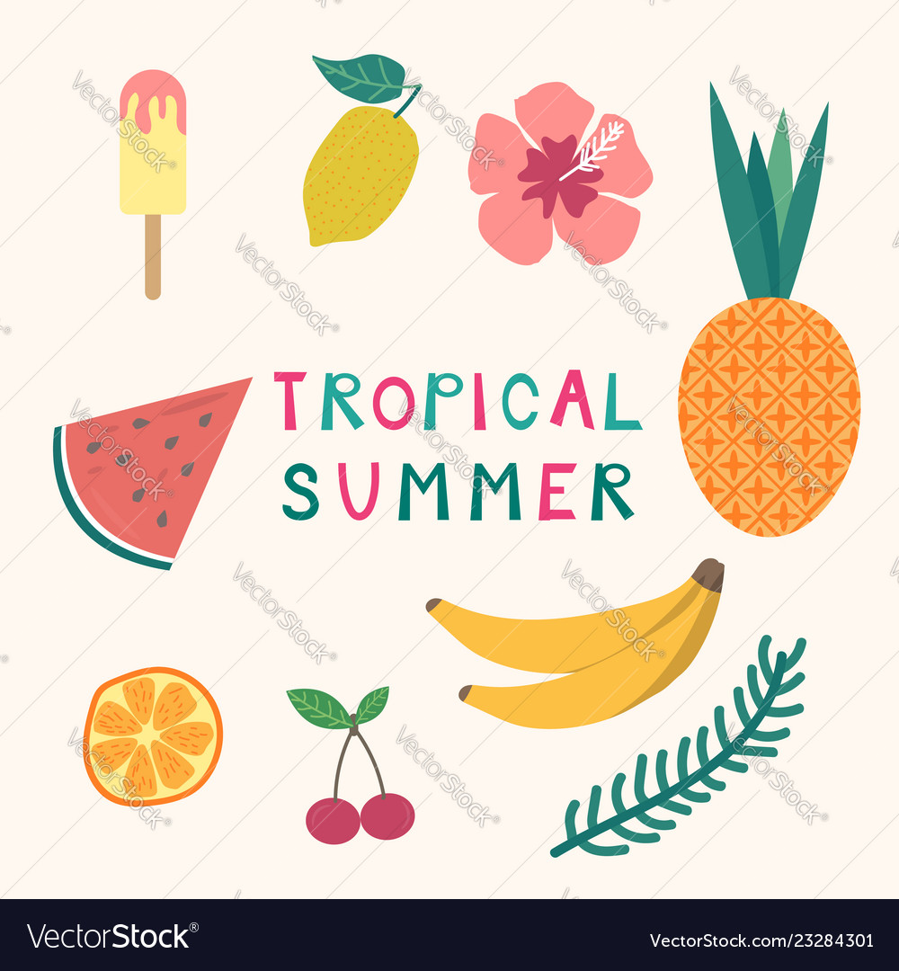 Set of tropical summer elements ice cream fruits