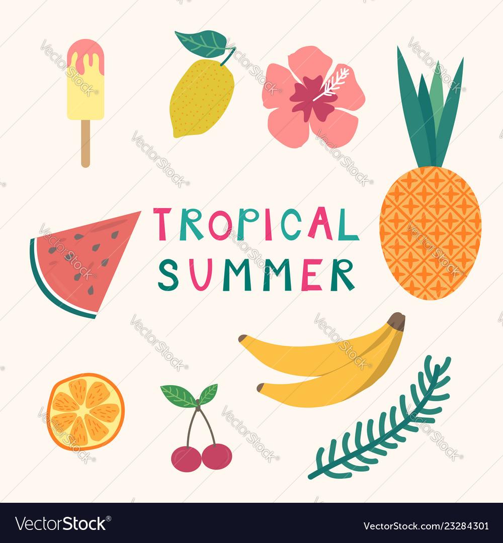 Set tropical summer elements ice cream fruits