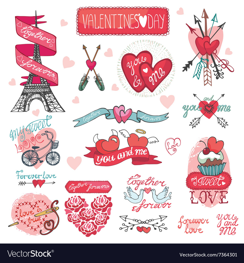 Valentines day designlabels icons elements