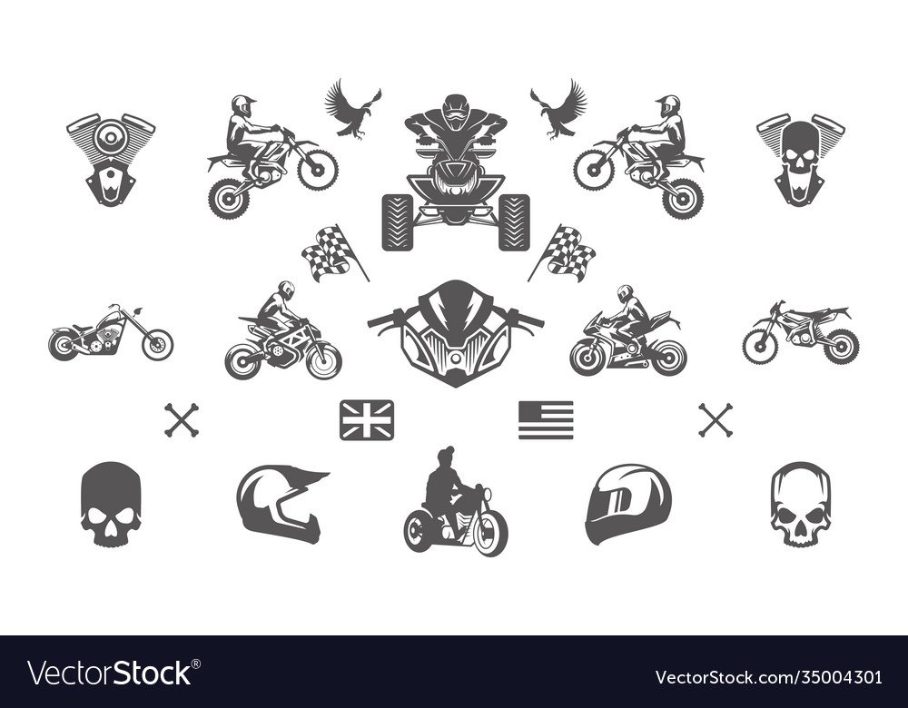 Vintage custom motorcycles silhouettes and icons