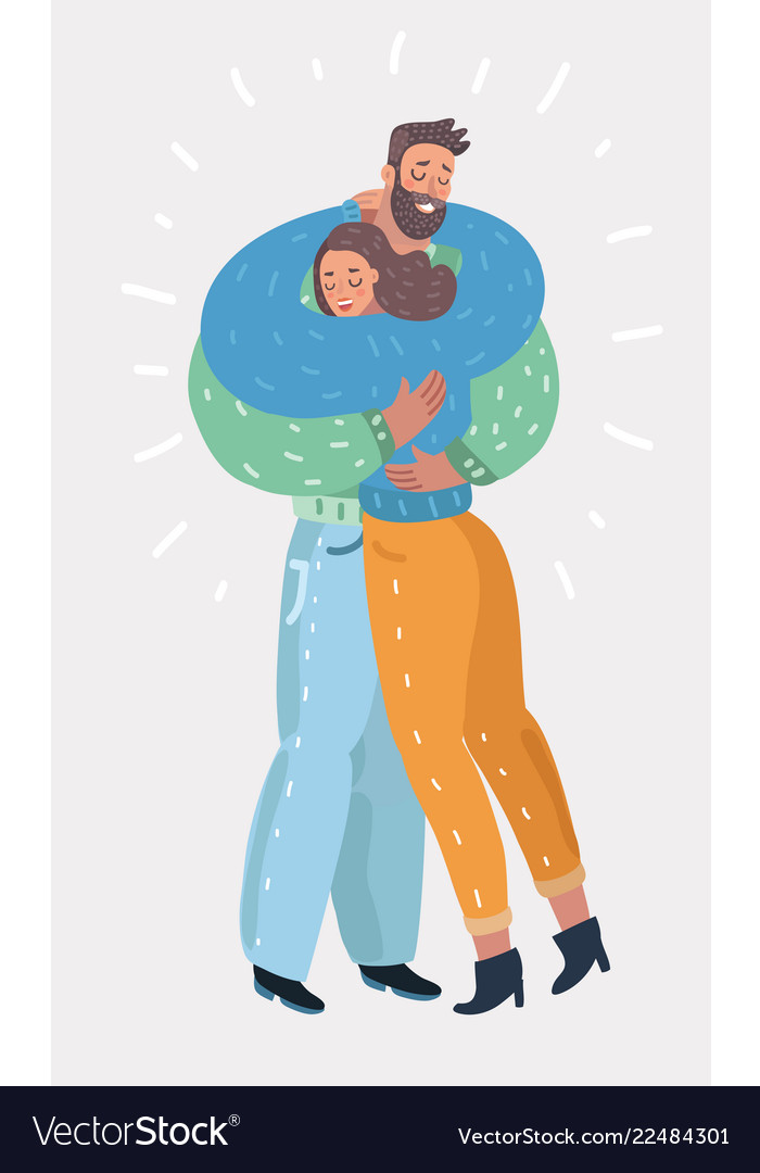 Woman hugging man with tender love expression